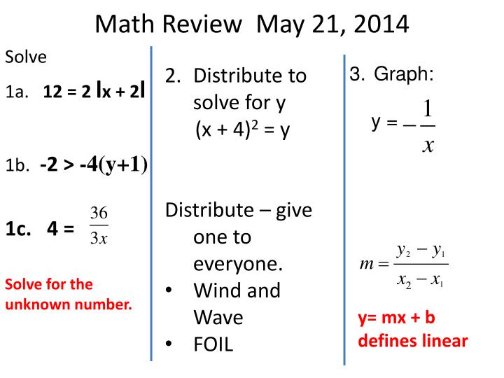 Math Review  May