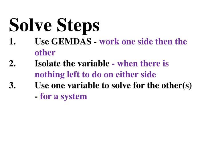 Solve Steps