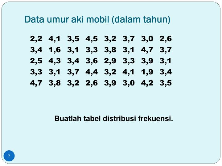 Data umur aki mobil (dalam tahun)