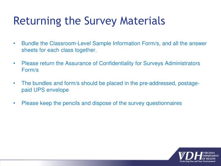 Returning the Survey Materials