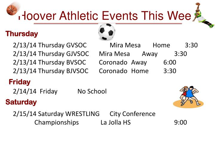 Hoover Athletic Events This Week