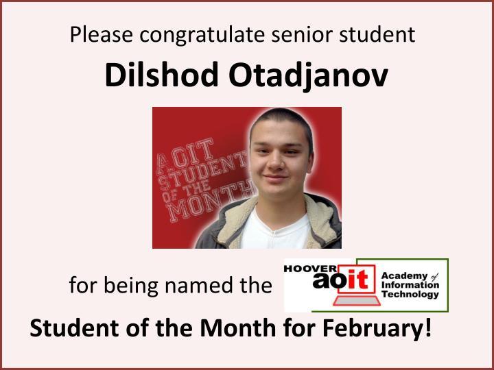 Please congratulate senior student
