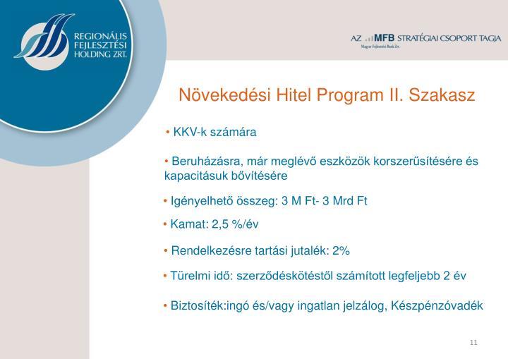 Növekedési Hitel Program II. Szakasz