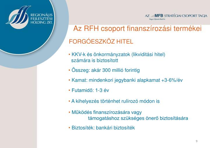 Az RFH csoport finanszírozási termékei