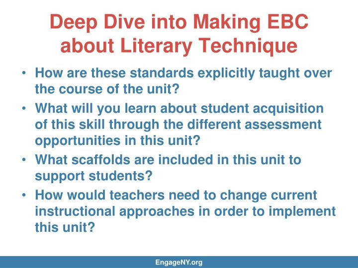 Deep Dive into Making EBC about Literary Technique