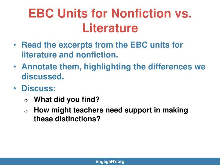 EBC Units for Nonfiction vs. Literature