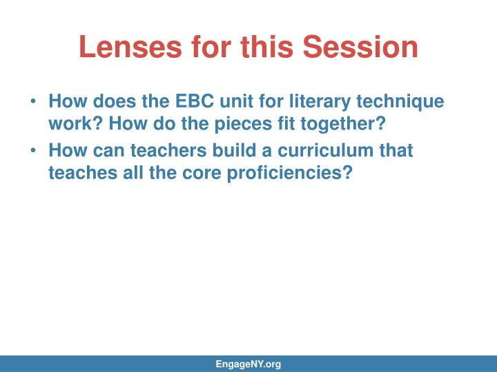Lenses for this Session