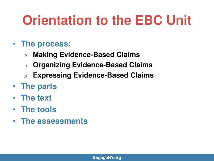 Orientation to the EBC Unit