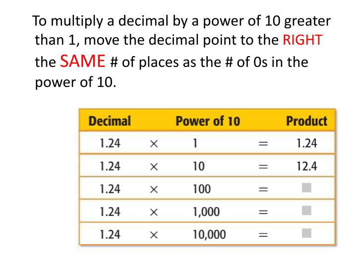 To multiply a decimal by a power of 10 greater than 1, move the decimal point to the