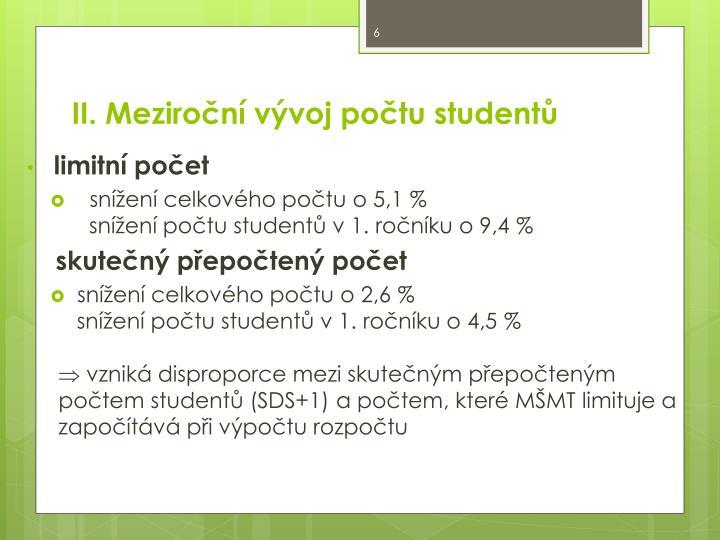 II. Meziroční vývoj počtu studentů