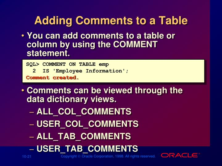 Adding Comments to a Table