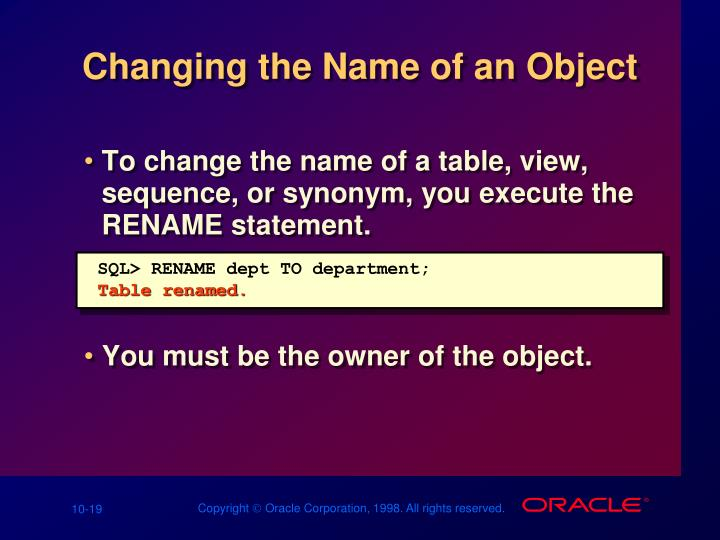 Changing the Name of an Object