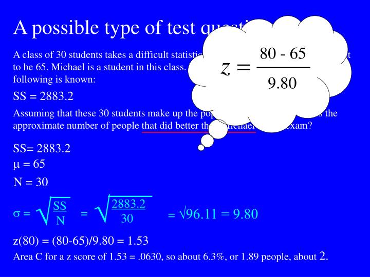 A possible type of test question: