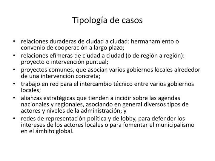 Tipología de casos