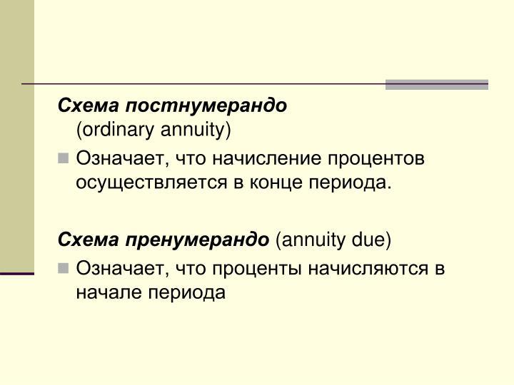 Схема постнумерандо