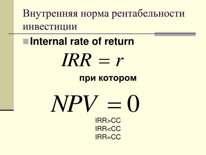 Внутренняя норма рентабельности инвестиции