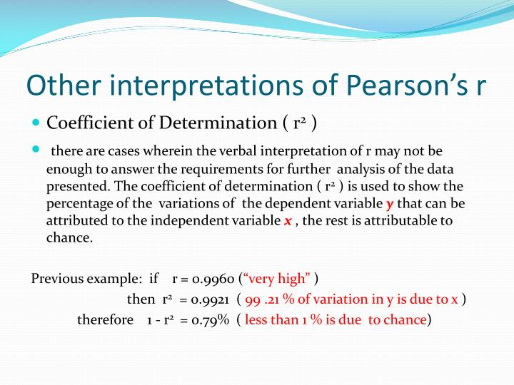 Other interpretations of Pearson's r