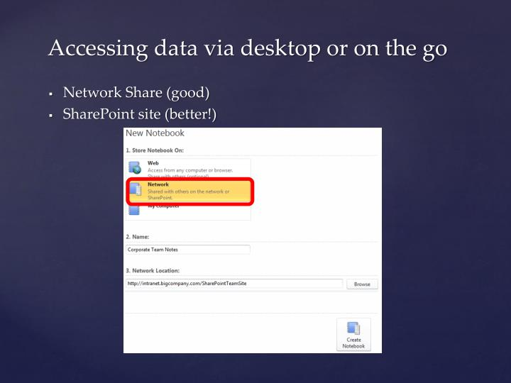 Accessing data via desktop or on the go