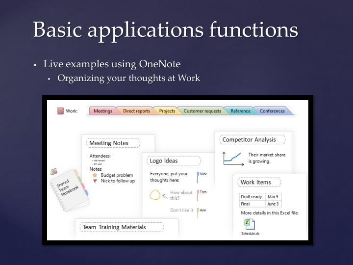 Basic applications functions
