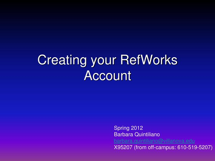 Creating your refworks account