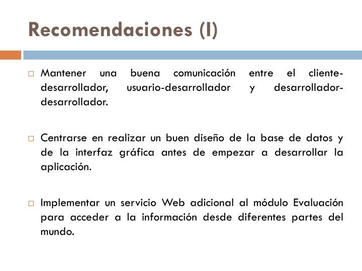 Recomendaciones (I)