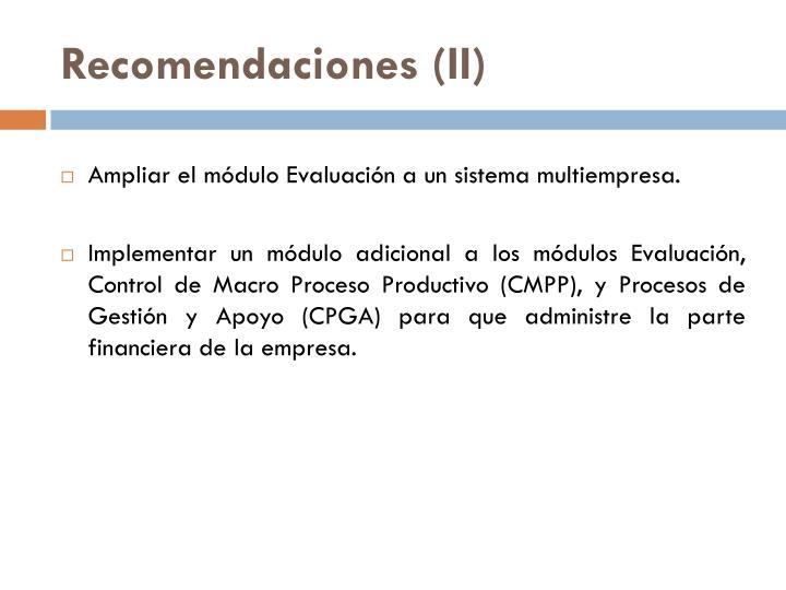 Recomendaciones (II)