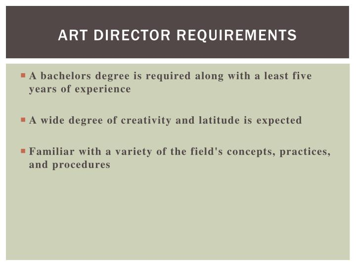 Art director requirements