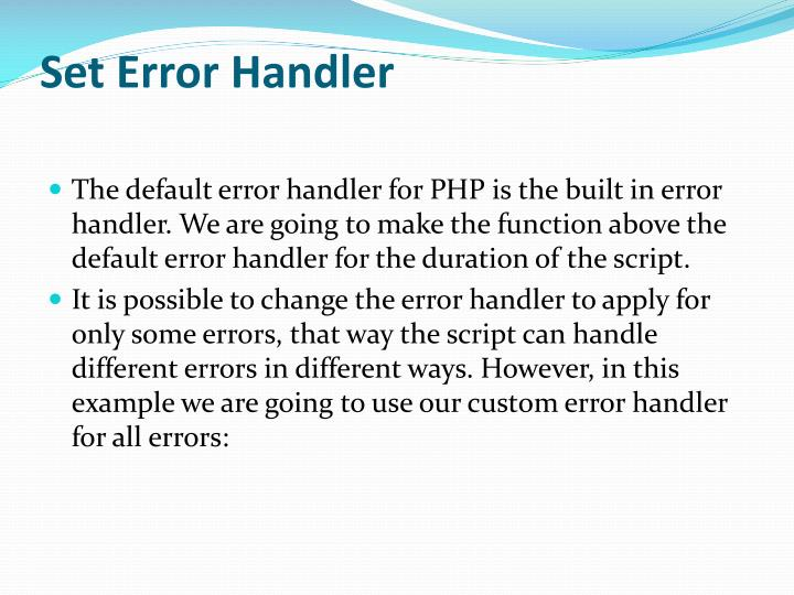 Set Error Handler