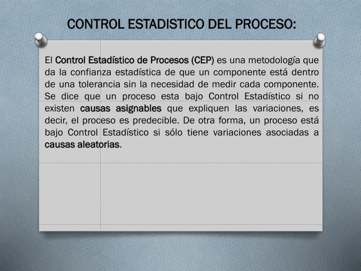 CONTROL ESTADISTICO DEL PROCESO: