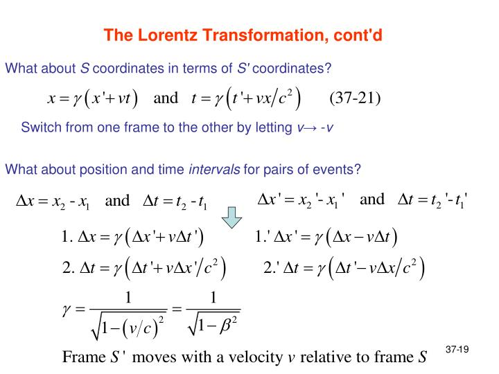 The Lorentz Transformation, cont'd