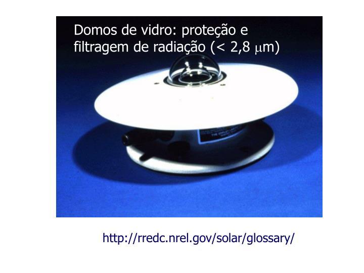 Domos de vidro: proteção e filtragem de radiação (< 2,8