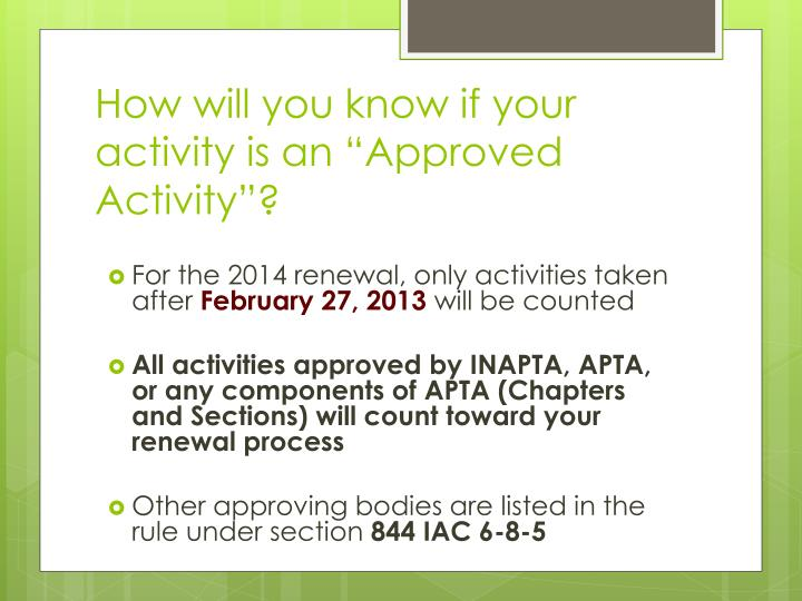 "How will you know if your activity is an ""Approved Activity""?"
