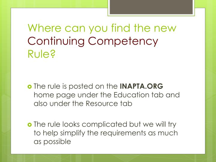 Where can you find the new continuing competency rule