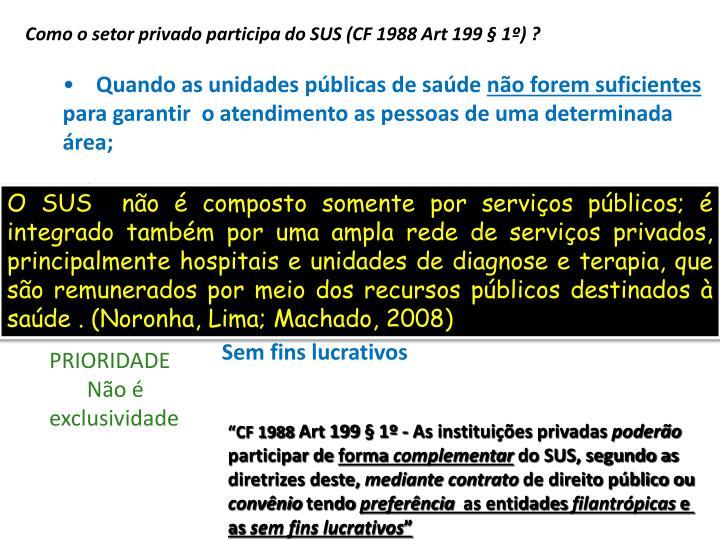 Como o setor privado participa do SUS (CF 1988