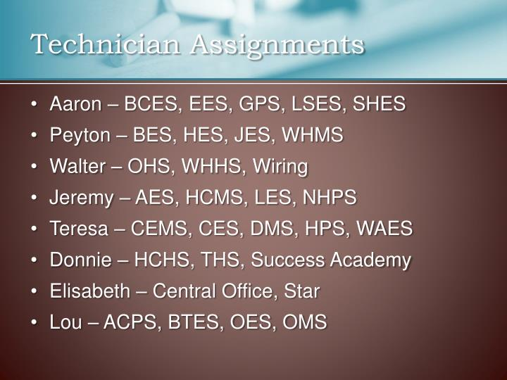 Technician Assignments