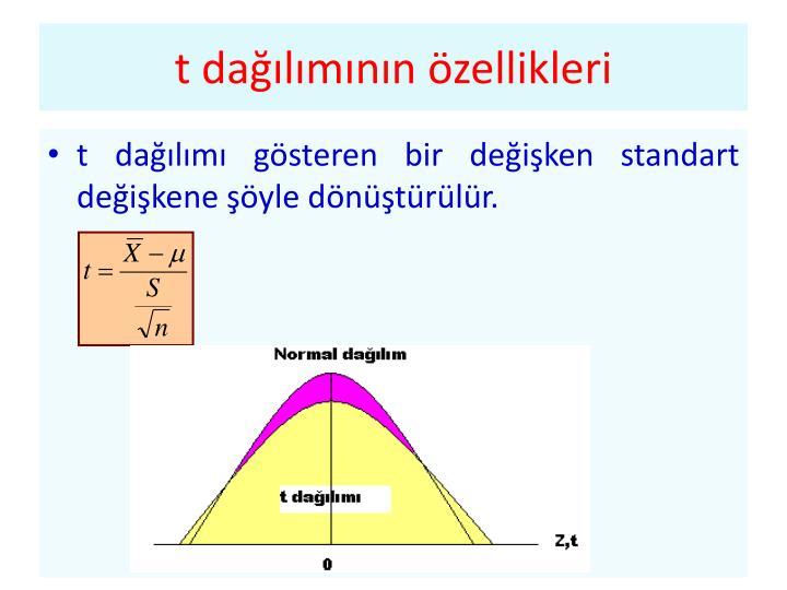 t dağılımının özellikleri