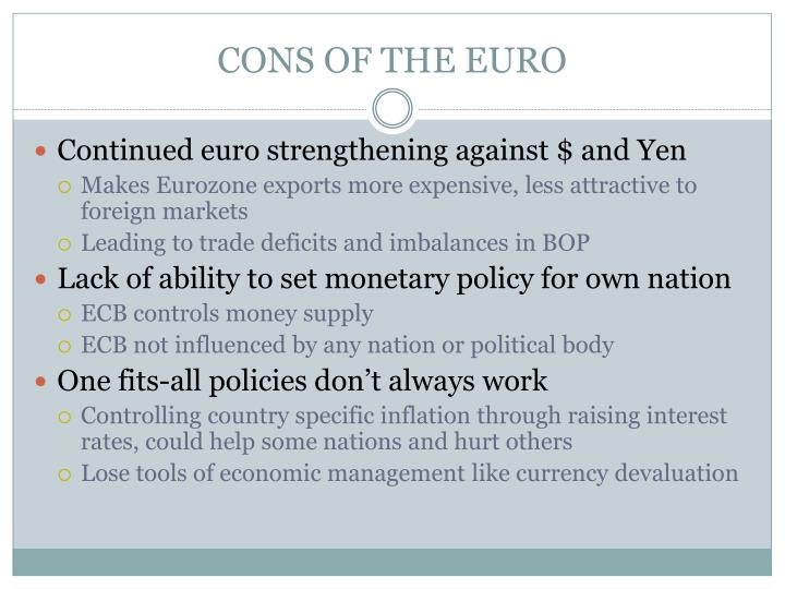 CONS OF THE EURO