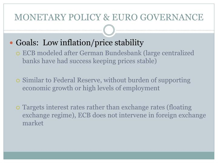 MONETARY POLICY & EURO GOVERNANCE
