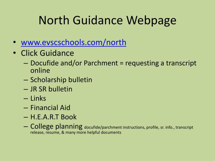 North Guidance Webpage