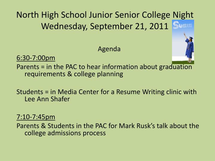 North high school junior senior college night wednesday september 21 2011