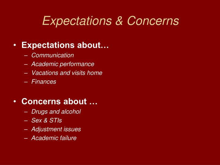Expectations & Concerns