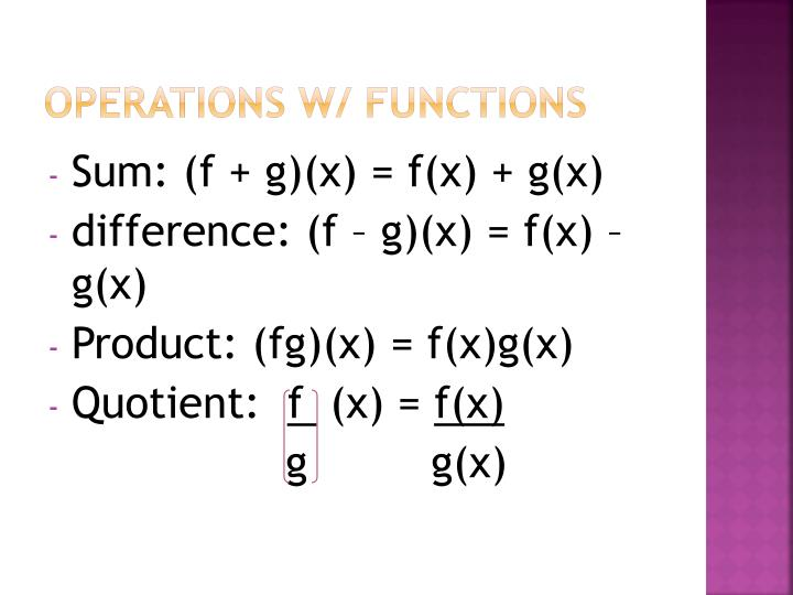 Operations w/ functions