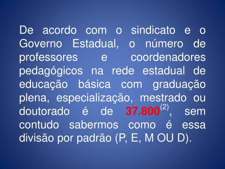 De acordo com o sindicato e o Governo Estadual, o nmero de professores e coordenadores pedaggicos na rede estadual de educao bsica com graduao plena, especializao, mestrado ou doutorado  de