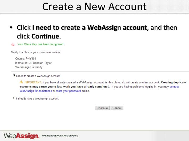 Create a New Account