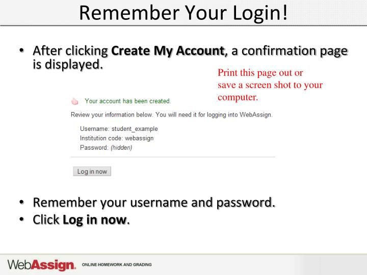 Remember Your Login!