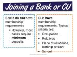 joining a bank or cu