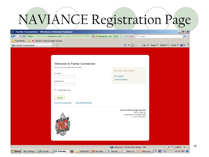 NAVIANCE Registration Page