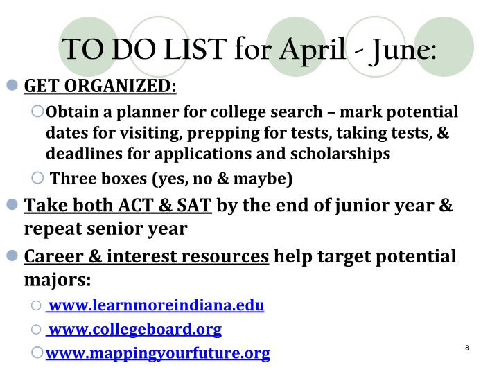 TO DO LIST for April -
