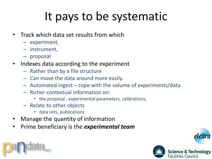 It pays to be systematic