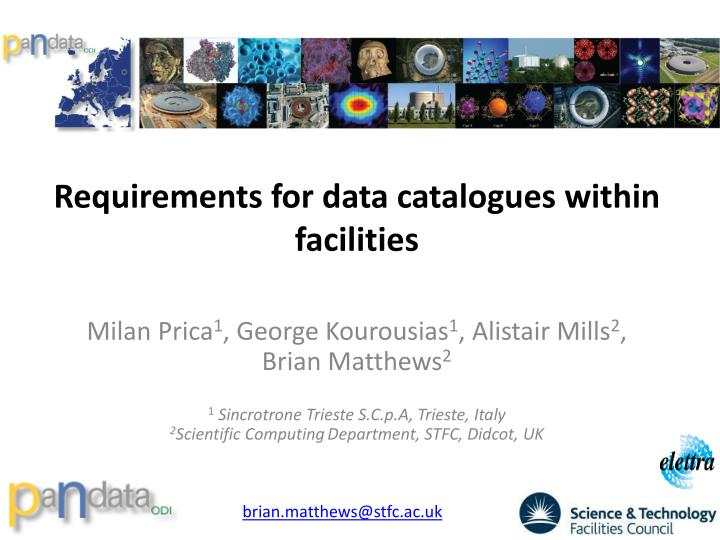 requirements for data catalogues within facilities
